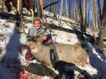 Kathryn and her first mule deer - Copy